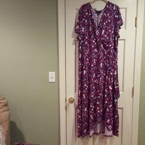 Faux-Wrap Floral Maxi Dress